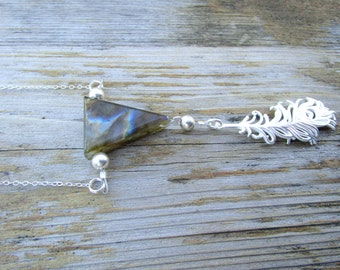 Labradorite Gemstone Sterling Silver Feather Pendant Necklace