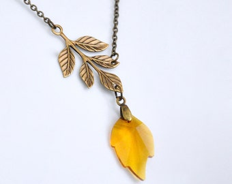 Amber Crystal Necklace, Swarovski Crystal Leaf Necklace, Antique Brass Branch Necklace, Asymmetric Necklace, Yellow Necklace, Maple Leaf