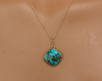 Genuine Turquoise Pendant, Turquoise Necklace, Dainty Necklace, December Birthstone, Natural Turquoise Necklace, Delicate, Pendant Necklace