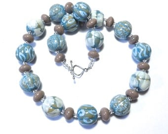 Kazuri Bead Necklace, Fair Trade, Blue Grey and a Touch of white