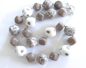 Kazuri Bead Necklace,  Chunky Necklace, Grey and White Necklace