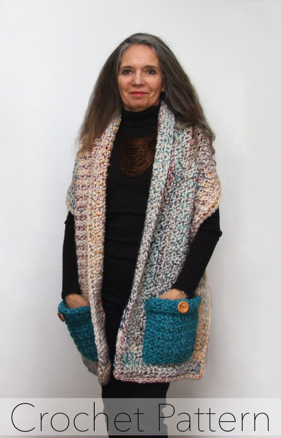 Readers Wrap Knitting Pattern : Readers Wrap Crochet PATTERN / Pocket Shawl / PDF / Made in Canada from ...