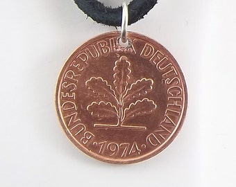 German Coin Necklace, 2 Pfennig, Coin Pendant, Leather Cord, Mens Necklace, Womens Necklace, 1974