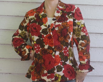 Floral Blazer Jacket Christenfeld Vintage 70s Retro Print S M