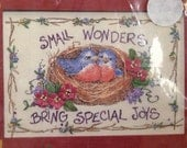 """Sealed Barbara's Garden Ribbon Embroidery Kit, Small Wonders Bring Special Joys #1471, 7 x5"""", Robbins in a Nest, Printed Fabric, Dimensions"""