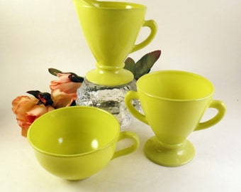 Chartreuse Hazel Atlas Cream Sugar Coffee Cup Vintage Glass Kitchen