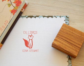 Custom Mr Fox Ex Libris Bookplate Olive Wood Stamp
