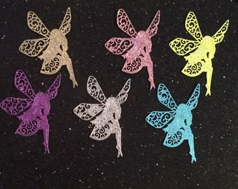 Twinkerbell - Tattered Lace Fairy - Glittered - Die Cut - Set of 6 - Very Nice!