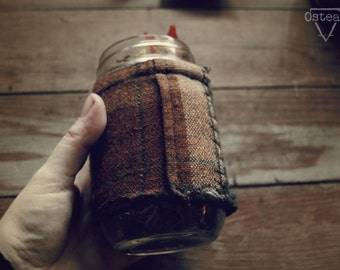 Rustic Cabin - pint sized, coozie, coozy, cozy, mason jar, CC03