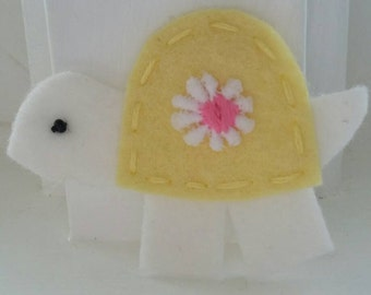 4 Handmade Felt Felties Turtle Appliques-Butter Yellow