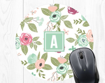 Cute Desk Accessories Mouse Pad Mousepad Round Mouse Pad Mint Mouse Pad Cute Mouse Pad Floral Mouse Pad Monogram Mouse Pad Personalized