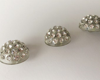 Vintage Lucite Dome Buttons with Brilliant Clear Rhinestones, 3 pcs