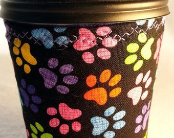 Cup cozy, coffee cup sleeve: multi-colored cat paw prints
