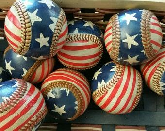 Primitive American Flag - Baseball Hand Painted - Flag Baseball - Bowl Fillers - Patriotic