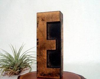 Letterpress E Wood Type Vintage Freestanding Printer Block Letter E