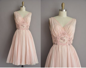 50s gorgeous pink chiffon romantic beaded lace vintage dress / vintage 1950s dress