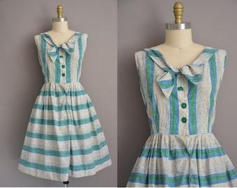 50s bold blue cotton stripe vintage dress / vintage 1950s dress