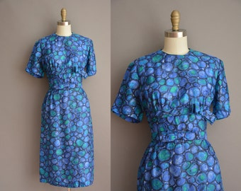 50s blue silk vintage wiggle dress / vintage 1950s dress