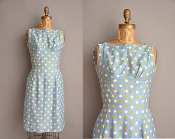 60s polka dot cotton vintage dress / vintage 1960s dress