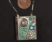 Peacock and Moon-miniature book necklace with story inside