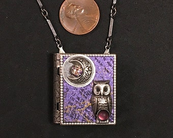 Owl and New Moon-Miniature Book Necklace