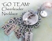 Cheerleader Charm Necklace, Wonderful Fun Cheer, Go Team, Girls, Teens, Personalized, Initial, Letter Charm, Birthday Gift