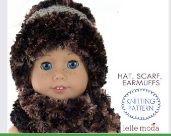 Knitting Pattern - for American Girl Doll - 18 inch Doll Clothes -  Doll Winter Hat Scarf - Doll Accessories -  Doll Clothes 18inch