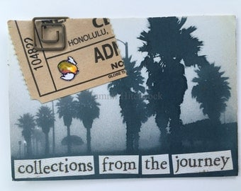 Collections from the journey Artist Trading Card ACEO ATC original collage 2.5 x 3.5 made 2006 ephemera palm trees ticket