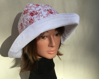 Ladies Sun Hat, Floppy Hat, Gardening Hat, Take Me AnyWhere, Vacation Hat, Red Ladies Hat, Red Rose Sun Hat, Light Weight Reversible Sun Hat