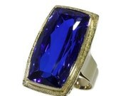 Valentines Sales Bishop gold ring with huge blue sapphire ref.15097-0137