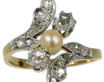 Summer Sale Antique Diamond Pearl Engagement Ring Belle Epoque ref.13290-0130