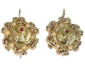 20% Off Valentine Sale Antique Rose Gold Dangle Earrings Red Stones Victorian Era ref.13298-0037