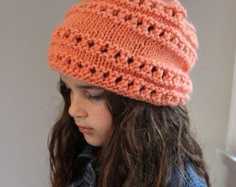 KNITTING PATTERN- Slouchy Eyelet Hat (child- adult sizing) PDF knitting pattern