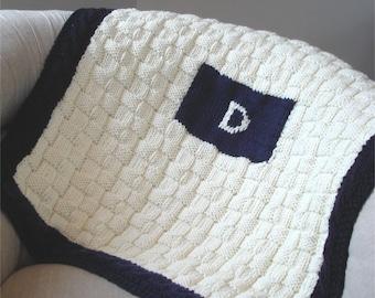 KNITTING PATTERN- Initial Baby Blanket in PDF knitting pattern