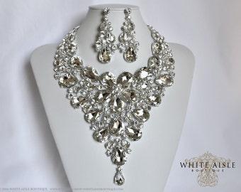 Crystal Wedding Jewelry Set, Statement Necklace, Back Drop Necklace, Vintage Style Bridal Necklace Earrings, Drop Necklace, Chunky Necklace