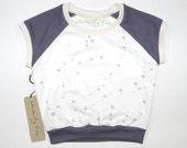 Zodiac Constellations | Stars | Organic Kids & Babies Short Sleeve Raglan | Grey | Hand Made | Toddler Cap Sleeve | Girls | Hipster Top