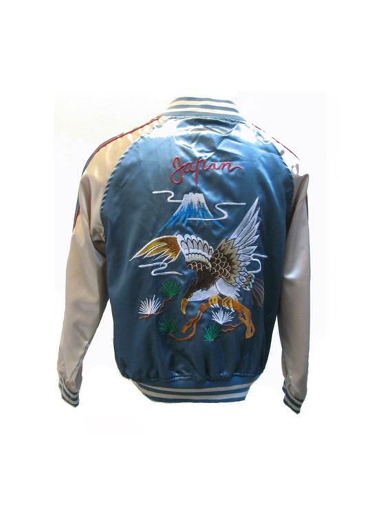 Vintage Japan Souvenir Jacket Mens Baby Blue and White Satin