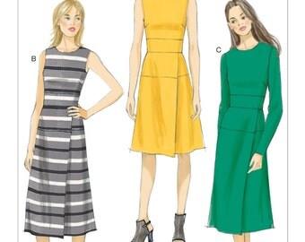 Sz 6/8/10/12/14 - Vogue Dress Pattern V9150 - Misses' Mock-Wrap Skirt Dresses in Three Variations - Vogue Patterns