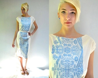 Embroidered Dress  //  Cotton Linen Sheath Dress  //  THE CALLIOPE