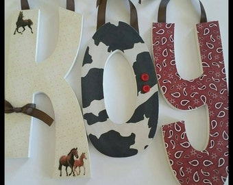 Western Wooden letters,  CLASSIC COWBOY Nursery Wall Letters, Baby boy, Personalized, Red, Cream and Brown, Horses,  Bandana, Wild West