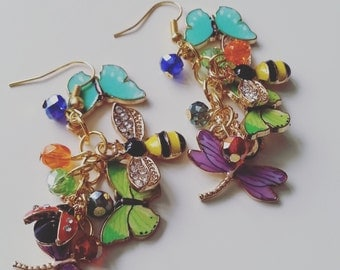 Ultimate,unique, ooak, Secret garden, bugs, bees, butterflies, mix colour, Summer, by NewellsJewels on etsy