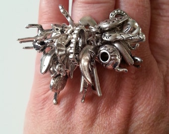 All Silver, ring, adjustable, silver ring, cluster, 24 charms, loaded,  butterfly, heart, ballerina, phone, teapot, by NewellsJewels on etsy