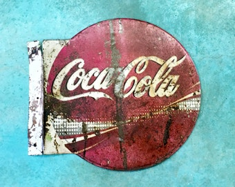 Authentic Cola Cola Vintage Advertising Tin / Metal Soda Sign / Double Sided / Flanged / Old Mexico