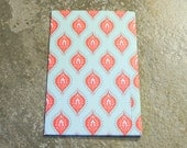4 Pocket Kraft Folder for FIELD NOTES Faux Midori Travelers Notebook Red Turquoise Indian Pattern
