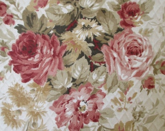 Pink Rose Floral Decorator Fabric Quiltsy Destash Party
