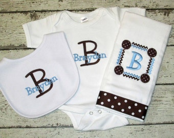 Monogrammed Bib, Burp Cloth, and Bodysuit Set for Baby Boy in Blue and Brown - Custom Personalized
