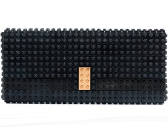 Black clutch purse with real gold plated elements made with LEGO® bricks FREE SHIPPING purse handbag legobag trending fashion