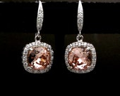 jewelry bridal wedding bridesmaid gift prom earrings swarovski vintage rose blush pink rhinestone square cut cubic zirconia rhodium hook