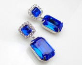 wedding jewelry bridal earrings christmas prom Swarovski sapphire blue vintage style rectangle square foiled crystal silver square cz post