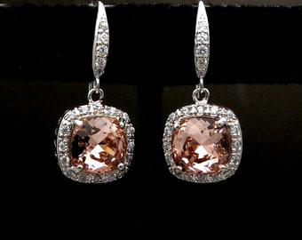 jewelry bridal wedding bridesmaid gift prom earrings swarovski vintage rose blush pink rhinestone square cut cubic zirconia rhodium hook